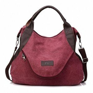 Handbags - Casual Large Volume Canvas Tote Backpack - Red